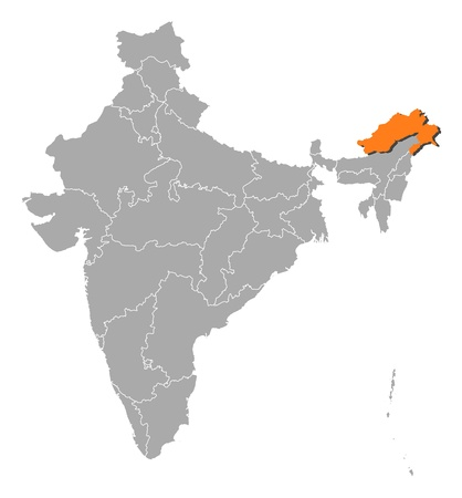 arunachal pradesh: Political map of India with the several states where Arunachal Pradesh is highlighted.