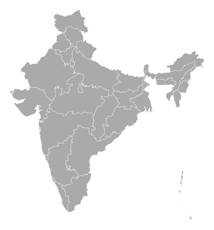emphasize: Political map of India with the several states where Daman and Diu are highlighted.