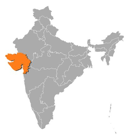 Political map of India with the several states where Gujarat is highlighted. Vector