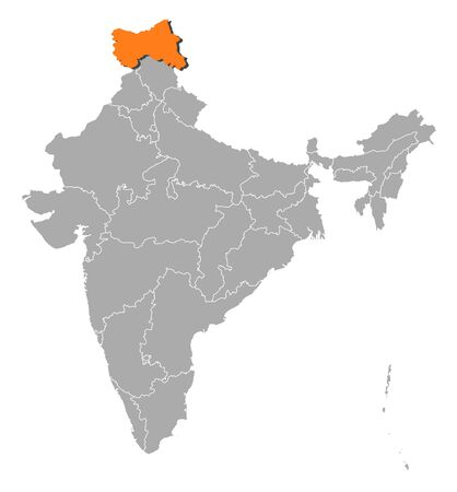 kashmir: Political map of India with the several states where Jammu and Kashmir is highlighted.