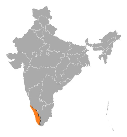 Political map of India with the several states where Kerala is highlighted. Vector