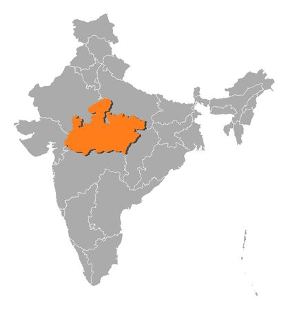 Political map of India with the several states where Madhya Pradesh is highlighted. Vector