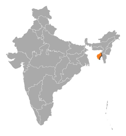 Political map of India with the several states where Tripura is highlighted. Vector