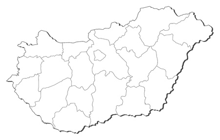 magyar: Political map of Hungary with the several counties.