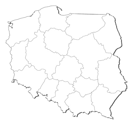 general maps: Political map of Poland with the several provinces (voivodschips). Illustration