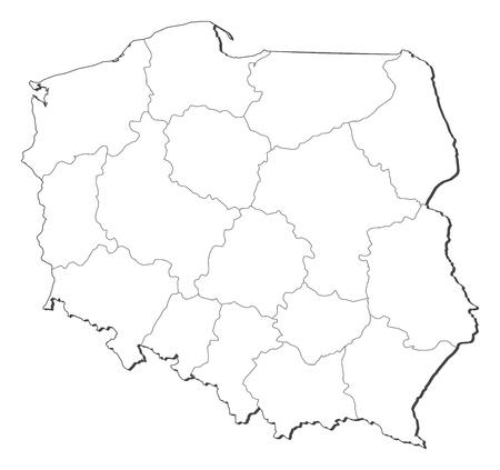 Politieke kaart van Polen met de verschillende provincies (voivodschips). Vector Illustratie