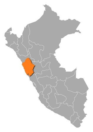 ancash: Political map of Peru with the several regions where Ancash is highlighted.