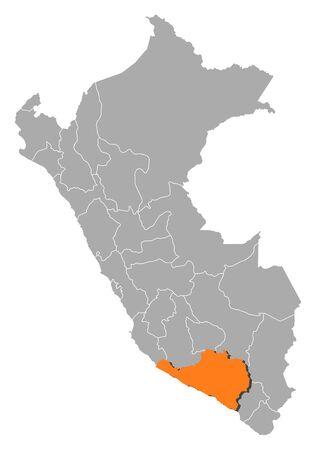 mapa peru: Mapa pol�tico del Per� con las diversas regiones en donde se destaca Arequipa. Vectores