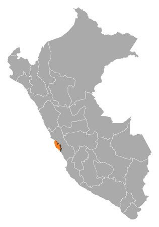 lima province: Political map of Peru with the several regions where Lima Region is highlighted.