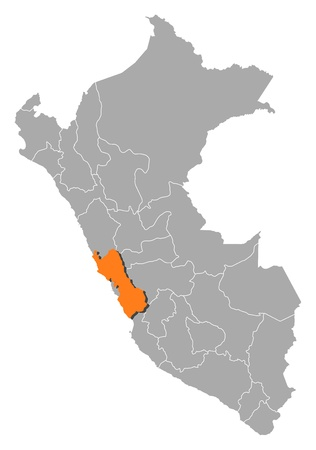regions': Political map of Peru with the several regions where Lima is highlighted.