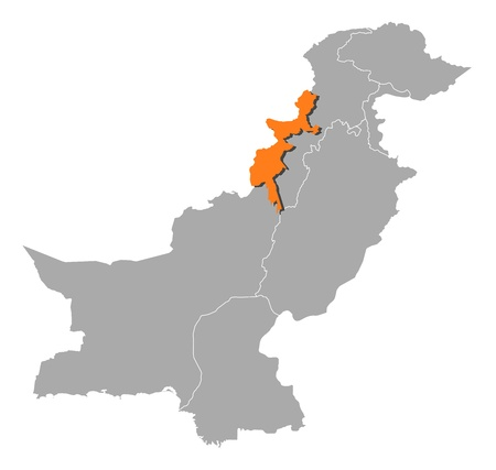 federally: Political map of Pakistan with the several provinces where Federally Administered Tribal Areas is highlighted. Illustration