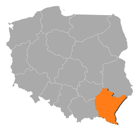 polska: Political map of Poland with the several provinces (voivodships) where Podkarpackie is highlighted.