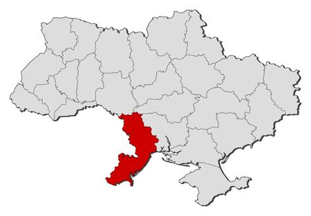 oblast: Political map of Ukraine with the several oblasts where Odessa is highlighted.