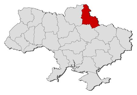 oblast: Political map of Ukraine with the several oblasts where Sumy is highlighted.