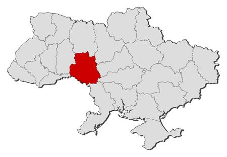 oblast: Political map of Ukraine with the several oblasts where Vinnytsia is highlighted.