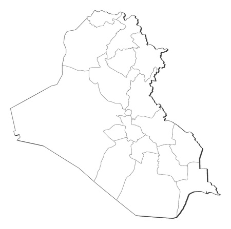 western asia: Political map of Iraq with the several governorates. Illustration