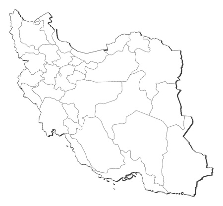 southwest asia: Political map of Iran with the several provinces.