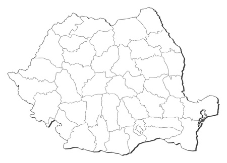 shady: Political map of Romania with the several counties.