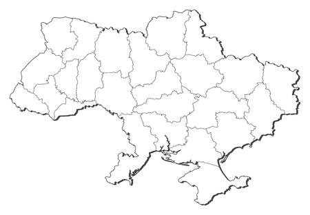 Mapa político de Ucrania con las provincias varias. Ilustración de vector