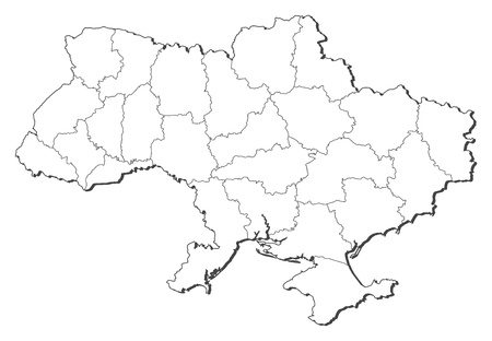 outline maps: Political map of Ukraine with the several oblasts. Illustration