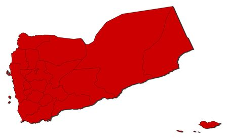 western asia: Political map of Yemen with the several governorates. Illustration
