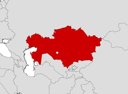 kazakhstan: Political map of Kazakhstan with the several regions.
