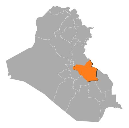 southwestern asia: Political map of Iraq with the several governorates where Wasit is highlighted.
