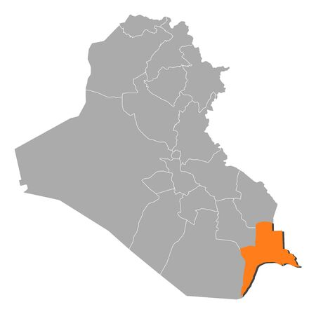 basra: Political map of Iraq with the several governorates where Basra is highlighted. Illustration