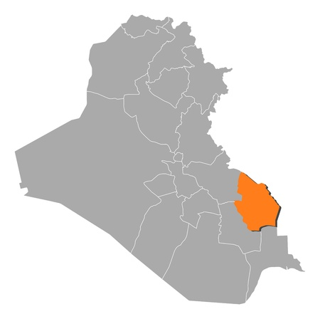 western asia: Political map of Iraq with the several governorates where Maysan is highlighted.