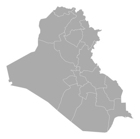 general maps: Political map of Iraq with the several governorates. Illustration