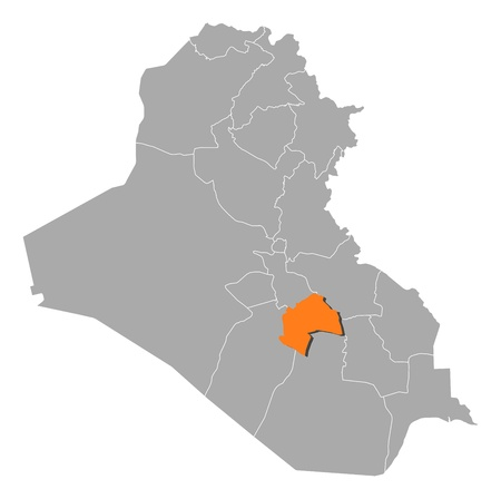 western asia: Political map of Iraq with the several governorates where Al-Qadisiyyah is highlighted. Illustration