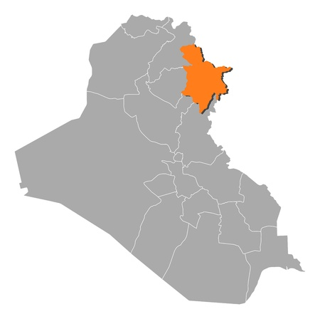 Political map of Iraq with the several governorates where Sulaymaniyah is highlighted.