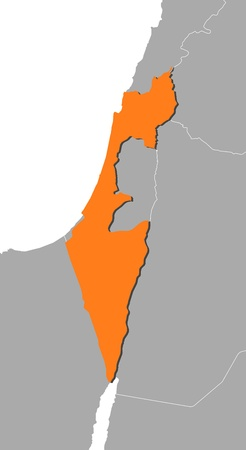 southwest asia: Political map of Israel with the several districts. Illustration