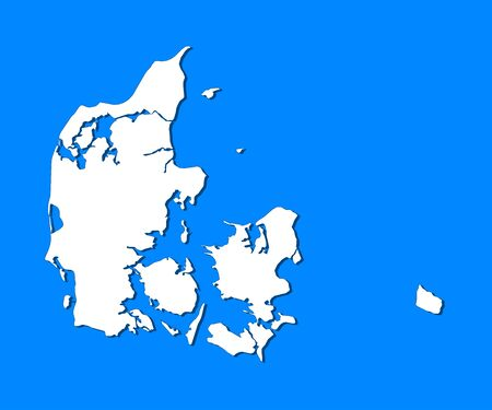 frontiers: Political map of Danmark with the several regions.