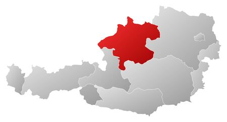 upper austria: Political map of Austria with the several states where Upper Austria is highlighted. Illustration