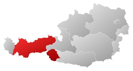Political map of Austria with the several states where Tyrol is highlighted. Vector