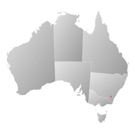 highlighted: Mappa politica di Australia con i diversi Stati in cui si evidenzia Capital Territory.