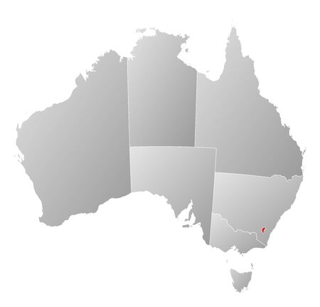 where: Political map of Australia with the several states where Capital Territory is highlighted.