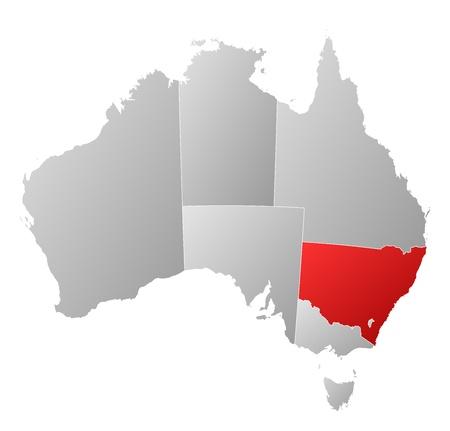 political map: Mapa pol�tico de Australia con los diversos estados en donde Nueva Gales del Sur se destaca.