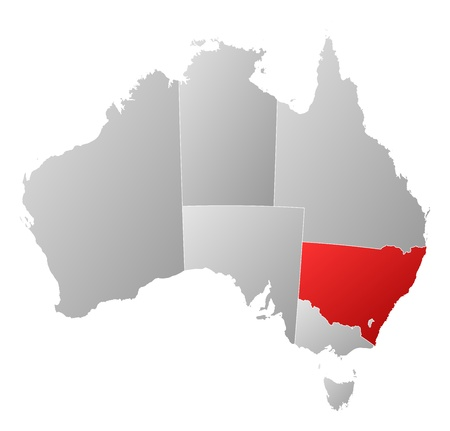 emphasize: Political map of Australia with the several states where New South Wales is highlighted.