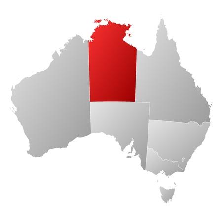 highlighted: Mappa politica di Australia con i diversi Stati in cui si evidenzia Northern Territory.