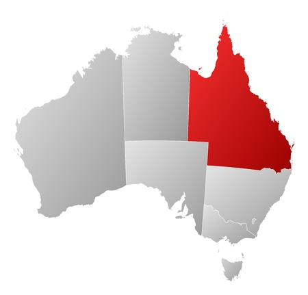Political map of Australia with the several states where Queensland is highlighted. Illustration