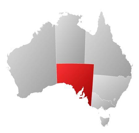 highlighted: Mappa politica di Australia con i diversi Stati in cui si evidenzia Sud Italie.