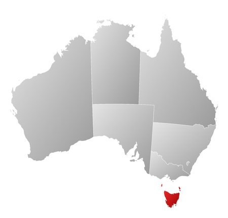 Political map of Australia with the several states where Tasmania is highlighted.