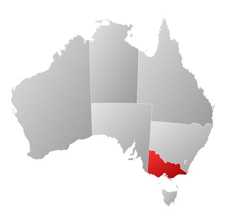 Political map of Australia with the several states where Victoria is highlighted. Ilustração