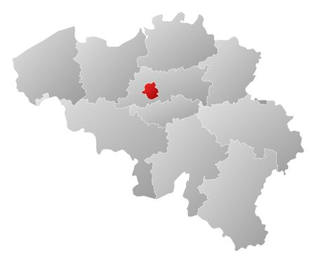 belgie: Political map of Belgium with the several states where Brusseles is highlighted.
