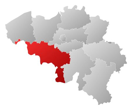 wallonie: Political map of Belgium with the several states where Hainaut is highlighted. Illustration