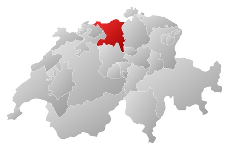 Political map of Swizerland with the several cantons where Aargau is highlighted. Vector
