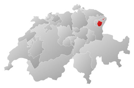 swizerland: Political map of Swizerland with the several cantons where Appenzell Innerrhoden is highlighted.