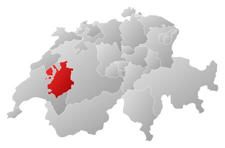 schweiz: Political map of Swizerland with the several cantons where Fribourg is highlighted. Illustration